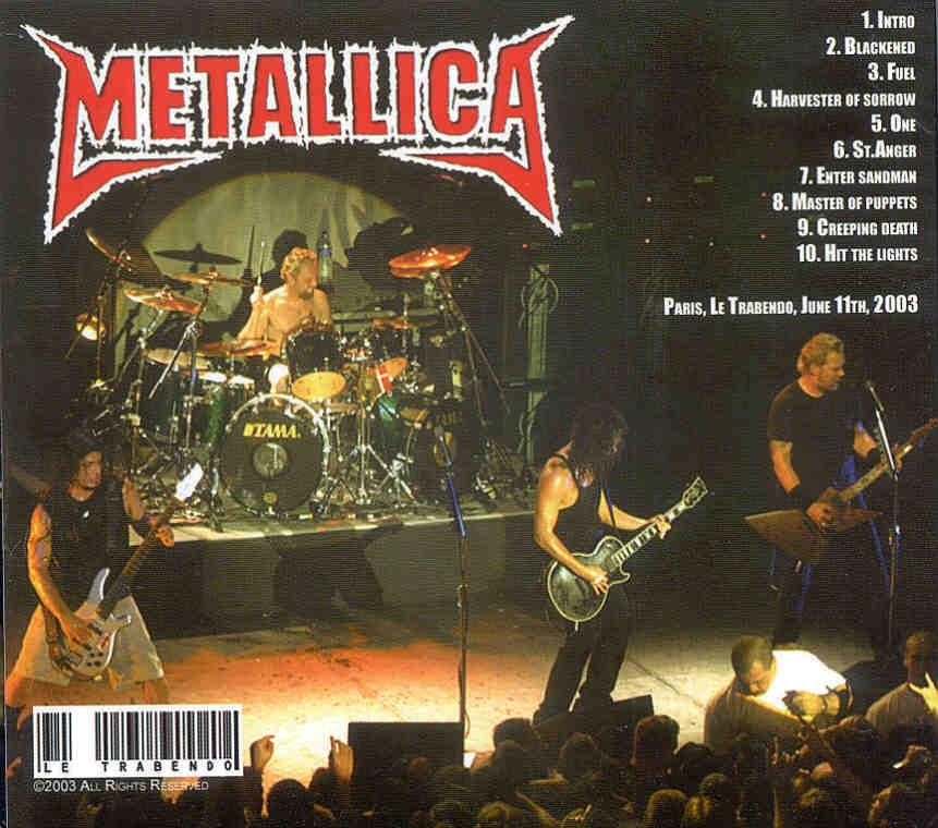 Metallica Trabendo CD cover - Paris, June 11 2003